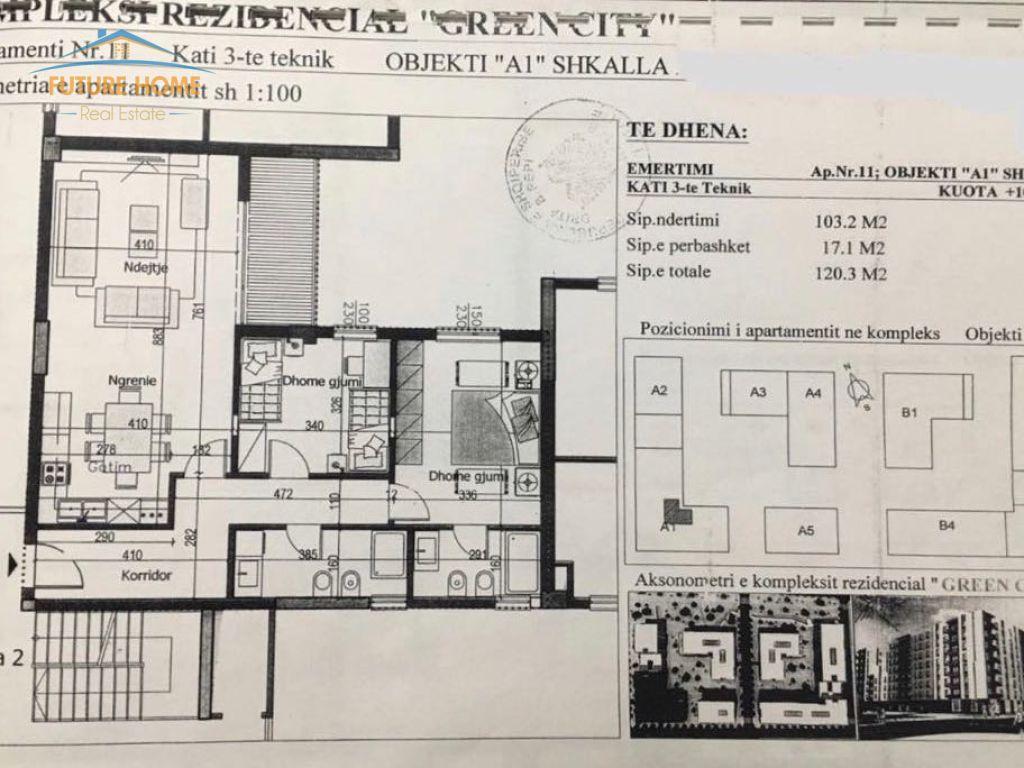 Shitet,Apartament 2+1,Kompleksi Green City
