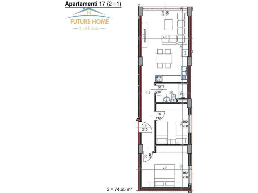 Shitet, Apartament 2+1, Rezidenca Kodra E Diellit 2 , Tiranë.