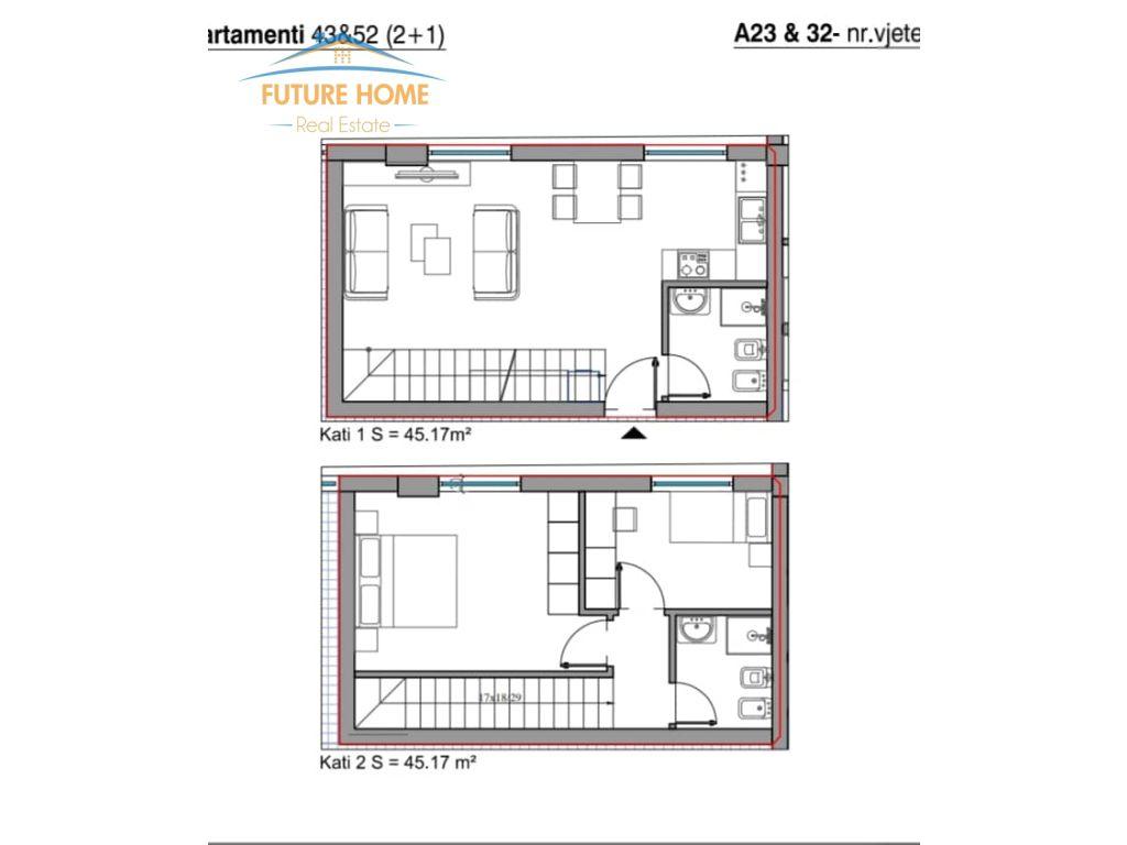 Shitet, Apartament Dublex 2+1, Rezidenca Kodra E Diellit 2 , Tiranë.