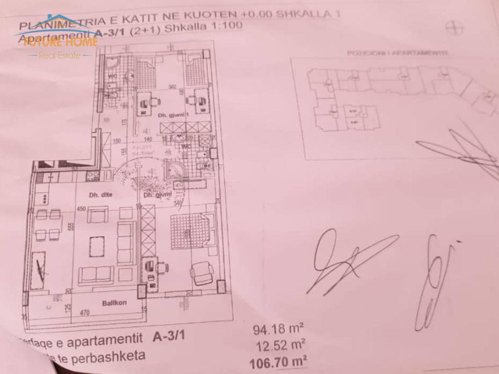 Shitet, Apartament 2+1, Kodra E Diellit , Tiranë.