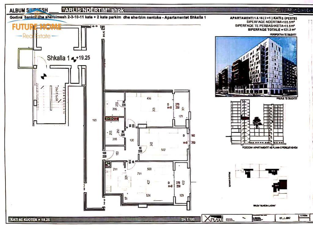 Shitet, Apartament 2+1, Kompleksi Scuare 21, Tiranë