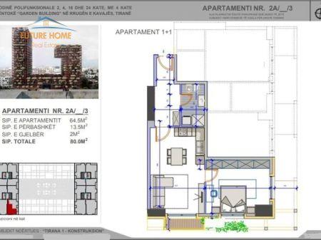 Shitet, Apartament 1+1, Tirana Garden Building