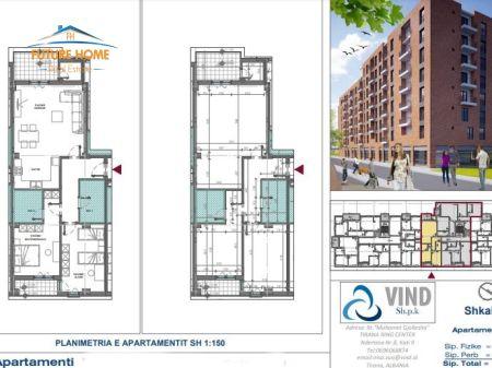 Shitet, Apartament 2+1, Kompleksi VINDI, ALi Demi, Tiranë.