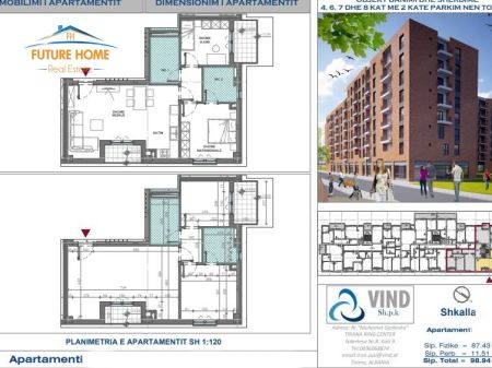 For sale, Apartment 2 + 1, VINDI Complex, ALi Demi, Tirana.
