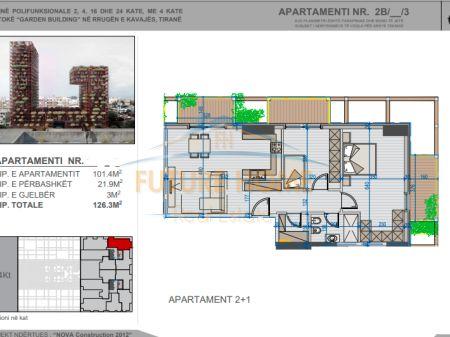 Shitet, Apartament 2+1, Kompleksi Garden Building, Tiranë