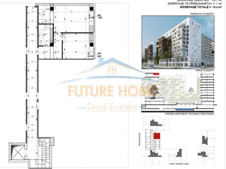 Rent, 1 + 1 Apartment, Square 21 Complex, Kavaja Street, Tirana
